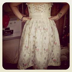Skirt and bodice finished back view