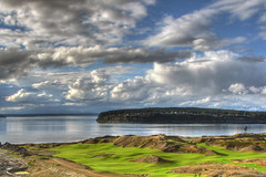 Cool Clouds Over Chambers Bay (mistymisschristie) Tags: blue white green water clouds reflections golf washington gray course karma hdr universityplace foxisland hdrunlimited southpugetsound mywinners hdrlandscapes mistymisschristie chambersbay excellentphotographerawards theperfectphotographer