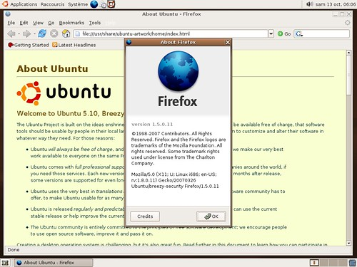 Firefox 1.5.0.11 sous ubuntu 5.10