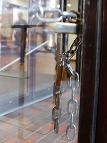 Chains on the doors at 312 Main St., Vancouver Police headquarters.