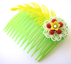 Green, Red and Yellow Vintage Flowers Hair Comb / Barrette