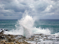 Blowhole (Windydear) Tags: ocean blue sea sky nature water clouds 1025fav rocks blowhole tropical caribbean grandcayman westindies naturesfinest flickrsbest platinumheartaward windydear thebestofgodscreation
