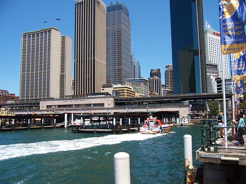 Circular Quay, train station & Cahill Expressway from the Commissioner's Steps Circ. Quay Sydney