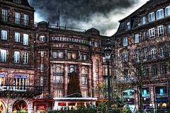 Galeries Lafayette (Philipp Klinger Photography) Tags: sky house france tree illustration clouds photoshop galeries lafayette place dramatic style historic strasbourg alsace hdr kleber tonemapping