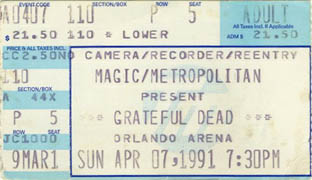 Grateful Dead ticket: 4/7/91 Orlando Arena