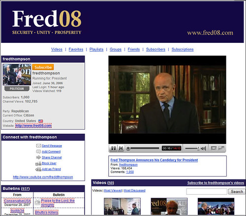 Fred Thompson's YouTube page