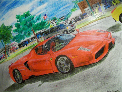 A crayon drawing of a Ferrari Enzo...