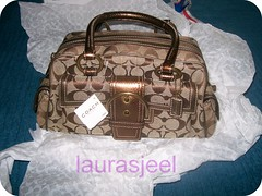 My Coach Khaki/Bronze Signature Snake Satchel