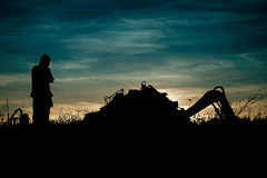 Photographer, Pile of Junk, Digger (Bobshaw) Tags: sky silhouette clouds trash junk photographer jcb centre pile rubbish recycling seaton digger carew truthwithelegance