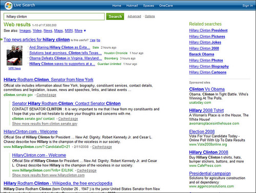 Live/MSN Search for 'Hillary Clinton'