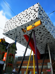 Wonder and Joy! (livinginacity) Tags: new toronto canada color building architecture modern buildings wow wonderful walking design flying cool pattern superb contemporary unique steel awesome joy structures surreal architect wicked wonderous colourful playful  recent looming stilts stilt joyous ocad alsop avantgarde patterned    willalsop  ontariocollegeofartanddesign    colouricious thesharpcentrefordesign  a architectureincanada