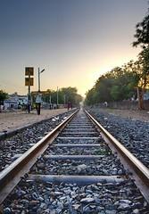 Tracks to the Horizon (N Amit) Tags: india lines train evening rocks track pentax transport railway pebbles adobe locomotive leading ahmedabad kx justpentax exposurefusion