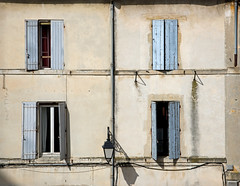 Arles. A view from the bullring. (hogsvilleBrit) Tags: windows lamp mediterranean shadows 6ws streetlamp sixwordstory arena shutters arles bullfight bullring rhone arenes arnesdarles ab1