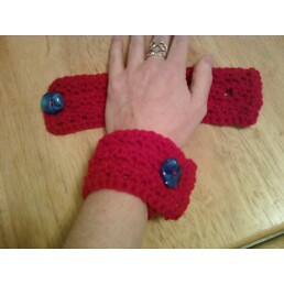 red cuffs with buttons