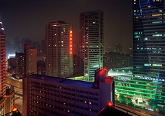 shanghai (harry kaufmann) Tags: china urban night skyscraper asia shanghai kodak 4x5 160vc portra largeformat 72mm 8minutes