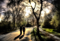 Let's Go For A Walk In The Park (BarneyF) Tags: park light sunset shadow color amsterdam silhouette landscape hdr orton supershot amazingamateur