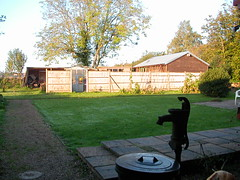 Padmaloka community courtyard and pump