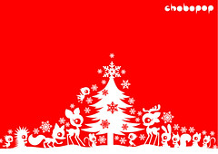 christmas wallpaper (Chobopop) Tags: snowflake christmas xmas winter red wallpaper white tree cute rabbit illustration navidad seasons noel deer fawn card merry feliz greeting vector karcsony joyeux chobopop