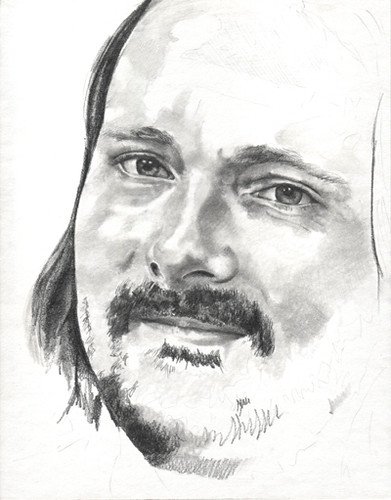 In progress scan of graphite drawing entitled KSmith