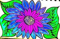 flower (jenjenphoto) Tags: blue flower color green art leaves colorful bright drawing vibrant vivid drawings doodle coloring doodles colorings saveearth sharingart