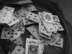 cards in water (dandavie) Tags: wet water cards magic ace floating backandwhite spades aceofspades