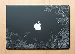 Wild flower Black MacBook straight (engraveyourtech) Tags: etched apple computer ipod tech personal laptop joe device laser custom electronic engraved mansfield engraveyourtech