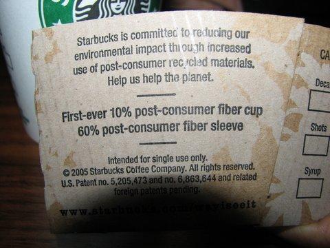 10 per cent post use fiber cup starbucks