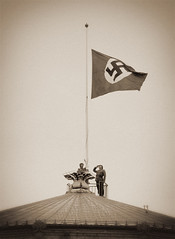 A moment in time (Rune T) Tags: bw sepia movie war flag swastika parliament norwegian german soldiers saluting