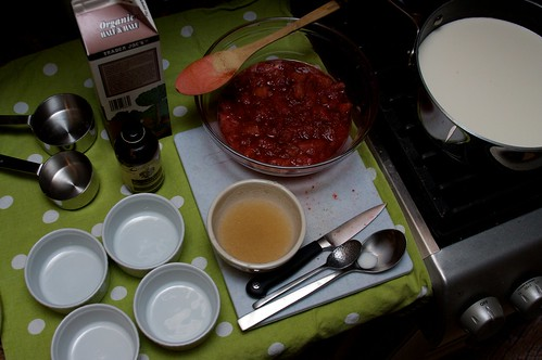 strawberry rhubarb finished-panna cotta in process