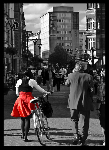the girl in the red skirt