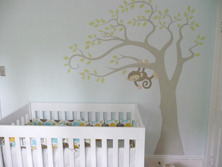 monkey mural in nursery