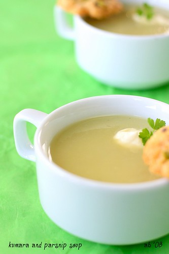 kumara and parsnip soup with cheese biscuits