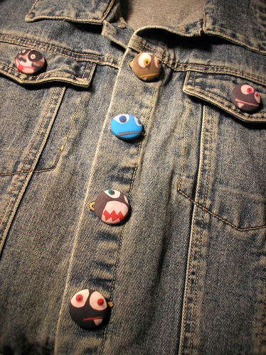 Monster Print Covered Buttons on a Jean Jacket