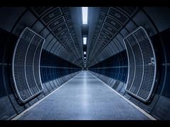 Tube (ScottSimPhotography) Tags: london subway underground tube station tunnel vanishingpoint dark perspective transport city tone moody scifi londonbridge symmetry