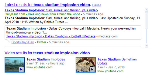 Texas Stadium Implosion Video in Google's Real-Time Search