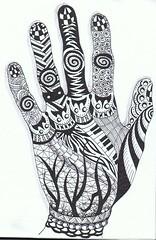 hand (Jo in NZ) Tags: blackandwhite doodle zentangle nzjo