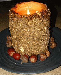 Grubby Candle With Acorns