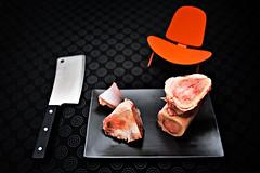 building blocks (mise #9) (Splat Worldwide) Tags: food orange canon studio eos soup chair furniture beef stock knife plate meat explore bones 5d dots vitra ultraviolence modernist butchery cleaver alienbees 1635mmf28l hanswegner designgeek 3benetskalstol