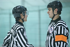 Linesman Brett Kanemitsu and Referee David Gibbons (mark6mauno) Tags: david hockey gardens referee nikon brett d200 lakewood nikkor acha glacial gibbons 70200mmf28gvr linesman nikond200 davidgibbons 200708 kanemitsu glacialgarden brettkanemitsu