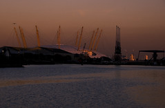 Dome (Joe Dunckley) Tags: uk sunset england london cityscape greenwich cranes docklands millenniumdome towerhamlets westindiadock