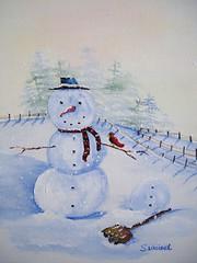 Tweet Tweet (Sherry Winkler) Tags: blue winter red white snow man cold tree bird scarf fence landscape carrot shovel blizzard snowscape
