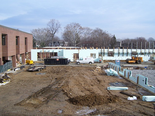A photograph of the aquatic center's progress