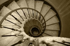 Spiral Staircase at Vizcaya (Sean Griffin Photography) Tags: monochrome rock sepia spiral miami staircase railing vizcaya porous deeringestate photomiami