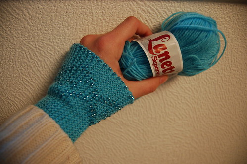 Turquoise wrist warmers with pearls