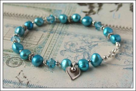 Freshwater pearl & silver bracelet