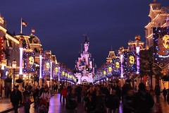 Cinderellas castle - main street view (simonandrewjohn) Tags: paris castle night disneyland mickeymouse press enchanted