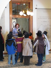 Students are welcomed to President Lincoln's Cottage.  These 3rd graders from Hearst Elementary get a sneak preview of the site before opening.