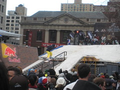 Snowboarding in Union Square Park