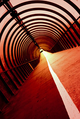 Glasgow Tunnel by the SECC, Scotland (Semi-detached) Tags: new red mars white tower architecture modern river scotland clyde glasgow centre perspective tunnel arches science line february secc distance 2008 armadillo martian 10faves aplusphoto