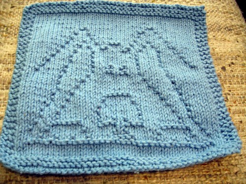 Peek-A-Blue wash cloth finished